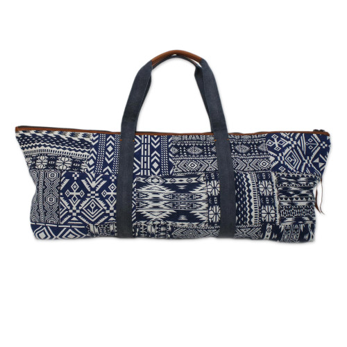 Handmade Cotton Blend Yoga Bag Blue Made in Thailand 'Om in Blue'