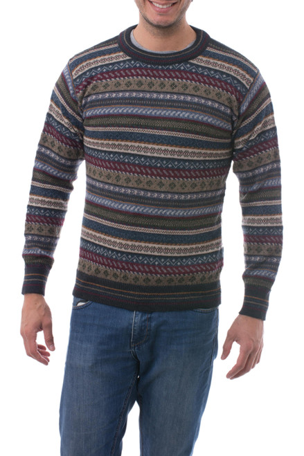 Men's Striped and Patterned 100 Alpaca Pullover Sweater 'Professor'
