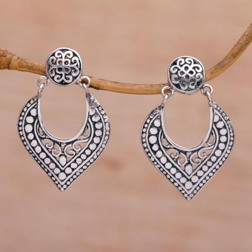 Handmade in Bali 925 Sterling Silver Dangle Earrings 'Royal Essence'