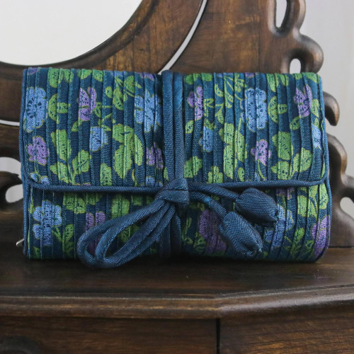 Rayon and Silk Blend Jewelry Roll in Blue from Thailand 'Floral Fashion'