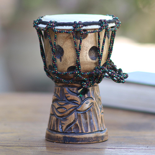 Turtle-Themed Mahogany Mini Djembe Drum from Bali 'Turtle Beat'