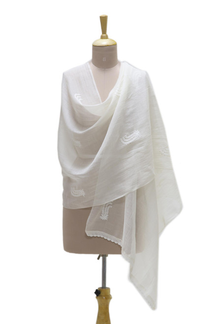 Warm White Embroidered Sheer Cotton and Silk Blend Shawl 'Blooming Garden'