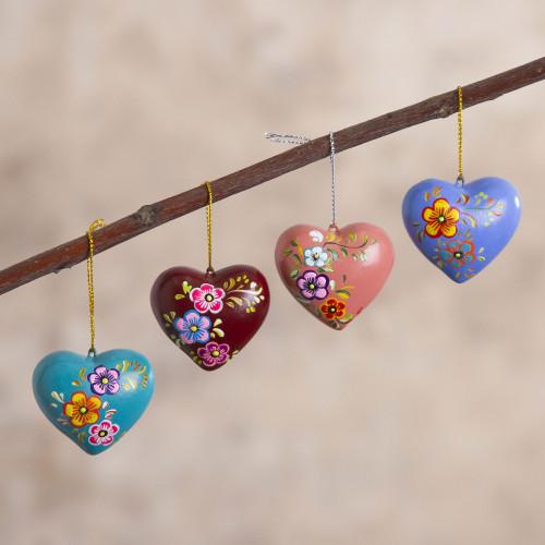 Hand Painted Ceramic Heart-Shaped Ornaments Set of 4 'Love Quartet'
