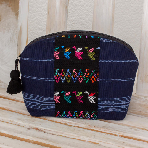 Handwoven Cotton Cosmetic Bag in Navy from Guatemala 'Tactic Stripes in Navy'