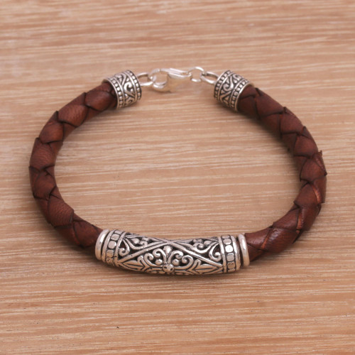Sterling Silver and Leather Cord Bracelet from Bali 'Lost Kingdom in Brown'