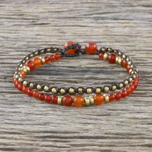 Double Strand Orange Quartz Beaded Macrame Bracelet 'Evermore'