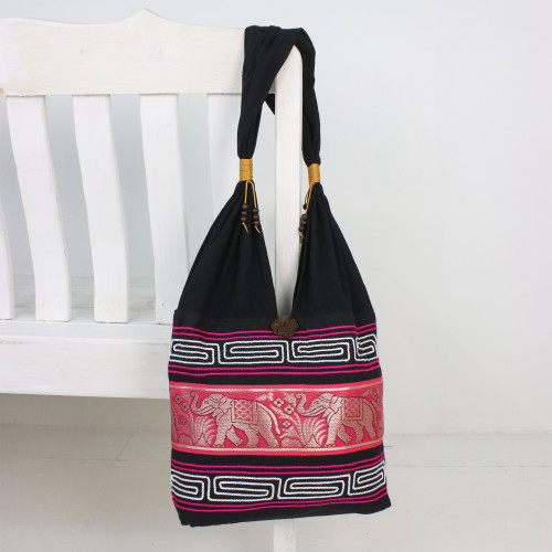 Elephant Cotton Blend Shoulder Bag in Ruby from Thailand 'Thai Elephants in Ruby'