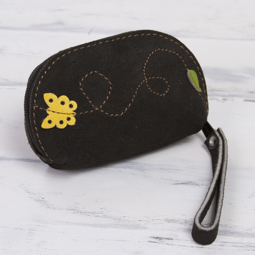 Black Suede Leather Coin Purse, Yellow Butterfly Appliqu 'Butterfly Flight'