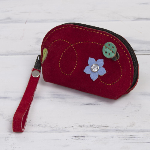 Red Suede Leather Coin Purse with Green Ladybug Appliqu 'Ladybug'