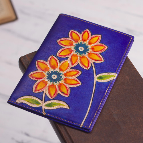Blue Leather Passport Cover with Hand Painted Flowers 'Lovely Traveler in Blue'