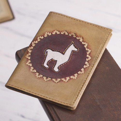 Tan Leather Passport Cover with Llama Design 'Andean Traveler'