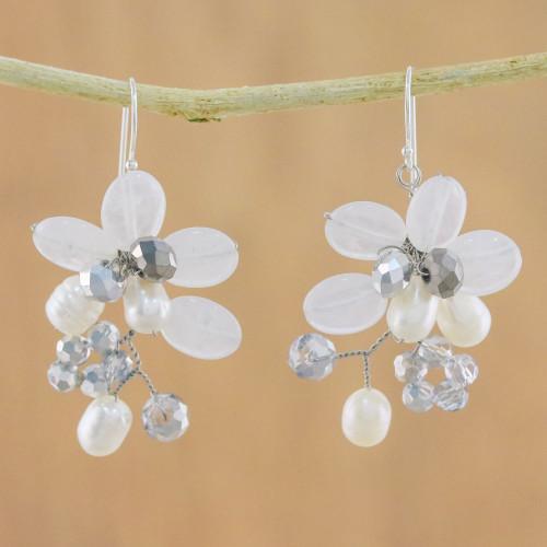 Cultured Freshwater Pearl White Quartz Cluster Earrings 'Winter Moment'
