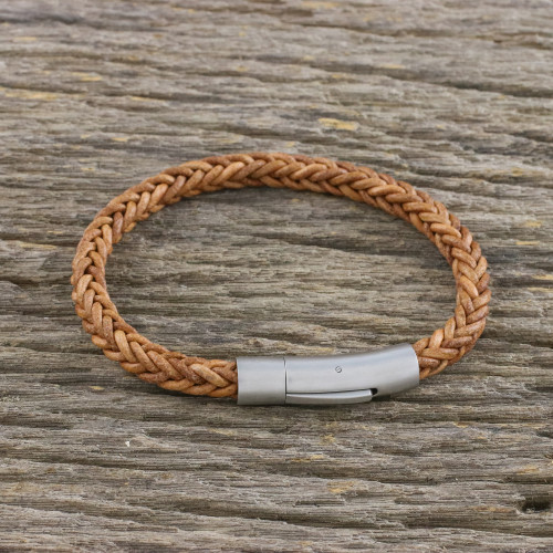 Light Brown Leather Braided Bracelet Crafted in Thailand 'Magical Braid in Saddle'