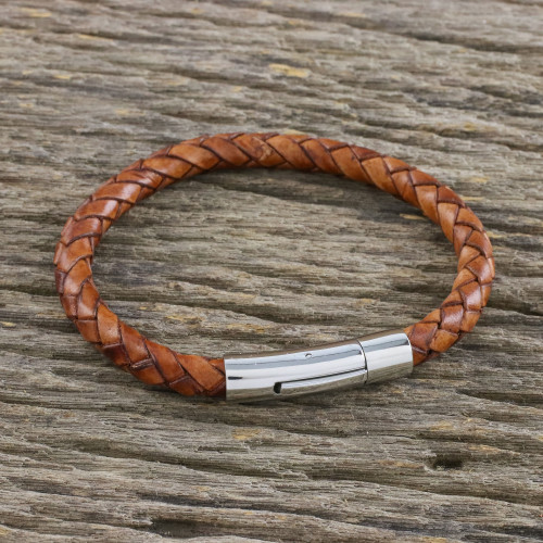 Light Brown Leather Braided Bracelet Crafted in Thailand 'Magical Braid in Russet'