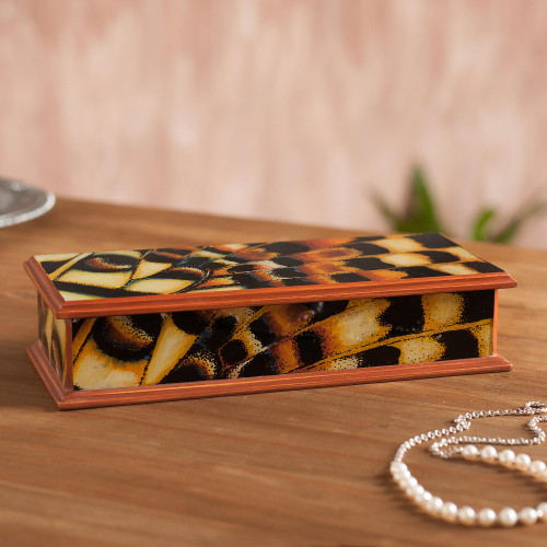 Reverse-Painted Glass Decorative Box from Peru 'Butterfly Dream'