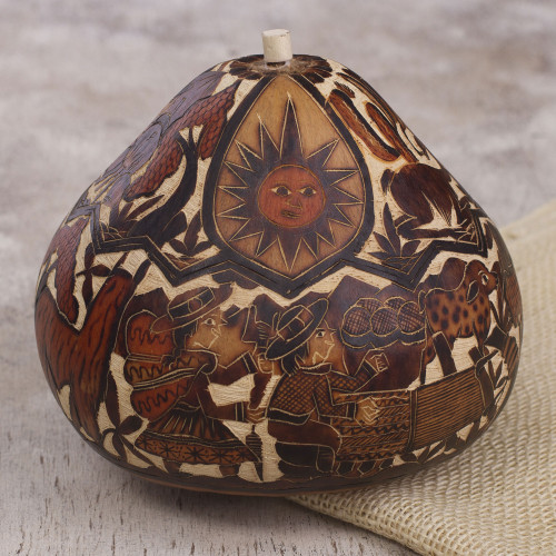 Hand Carved Gourd Decorative Box with Andean Pastoral Scene 'Of Land and Sky'