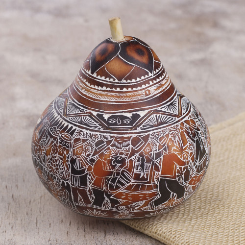 Hand Carved Gourd Decorative Box with Village Fiesta Scene 'Fiesta at Huancayo'