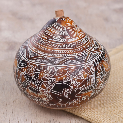 Hand Carved Gourd Decorative Box with Andean Folk Traditions 'Folk Traditions'