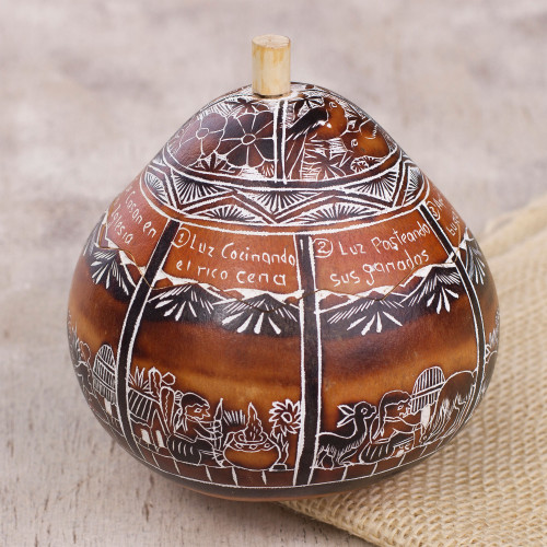 Hand Carved Gourd Decorative Jar with Andean Folk Story 'Boy Meets Girl'