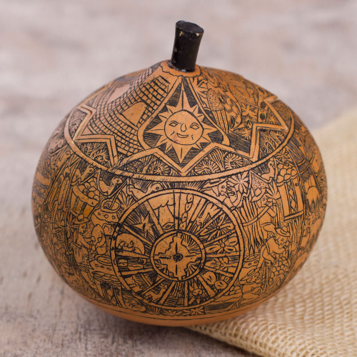 Hand Carved Andean Trilogy Sun and Moon Gourd Decorative Box 'Andean Trilogy'