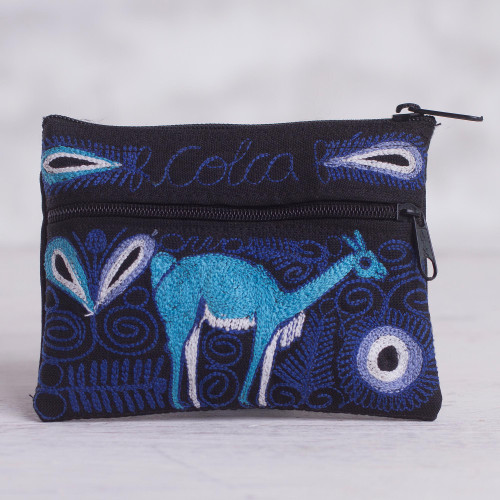 Deer-Themed Embroidered Coin Purse from Peru 'Colca Deer'