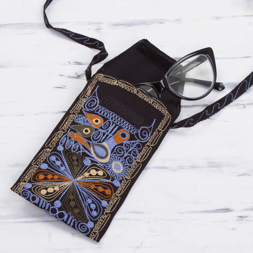Handcrafted Embroidered Eyeglasses Case from Peru 'Life in the Valley'