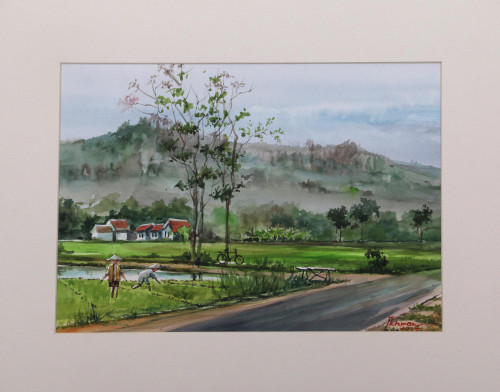 Impressionist Watercolor Landscape Painting from Indonesia 'Java Sceneries'