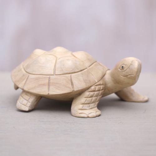 Wood Terrapin Turtle Statuette Hand Carved in Bali 'Papa Terrapin'