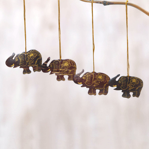 Set of 4 Coconut Shell Traditional Elephant Ornaments 'Imperial Elephants'