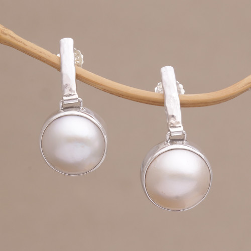 Cultured Mabe Pearl Dangle and Sterling Silver Earrings 'Ethereal Shimmer'