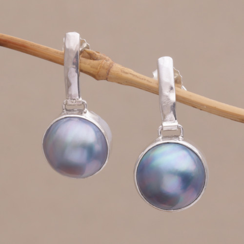 Cultured Mabe Pearl Dangle and Sterling Silver Earrings 'Ethereal Shimmer in Blue'