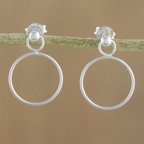 925 Sterling Silver Loop Shaped Frame Earrings 'Elegant Loop'
