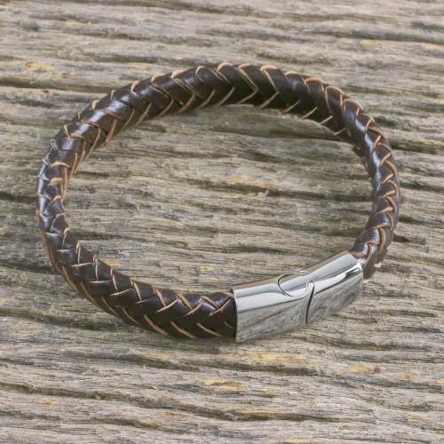 Men's Leather Braided Wristband Bracelet from Thailand 'Interlace in Dark Brown'
