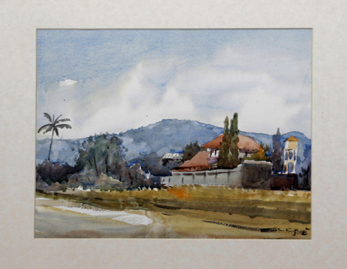 Signed Impressionist Landscape Village Painting from Java 'My Village'