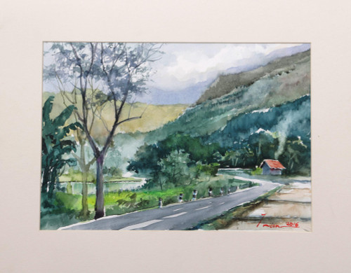 Indonesian Countryside Impressionist Watercolor Painting 'Kedungmiri Landscape'