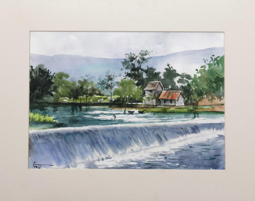 Original Watercolor Painting of Indonesian River Dam 'Dam View'