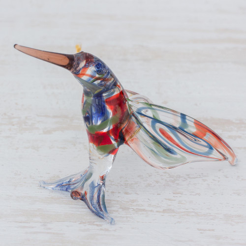 Handcrafted Colorful Hummingbird Blown Glass Figurine 'Color in Motion'