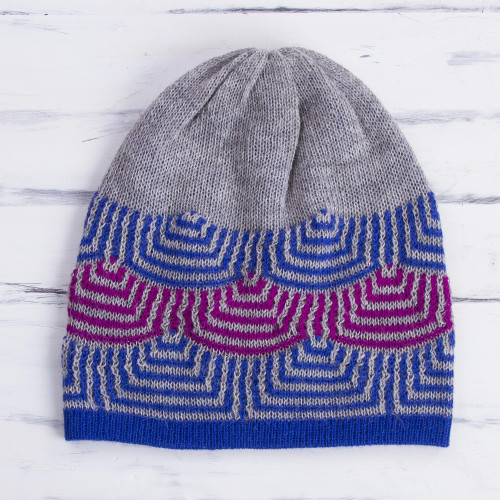 Reversible 100 Alpaca Hat in Royal Blue from Peru 'Quechua Style'