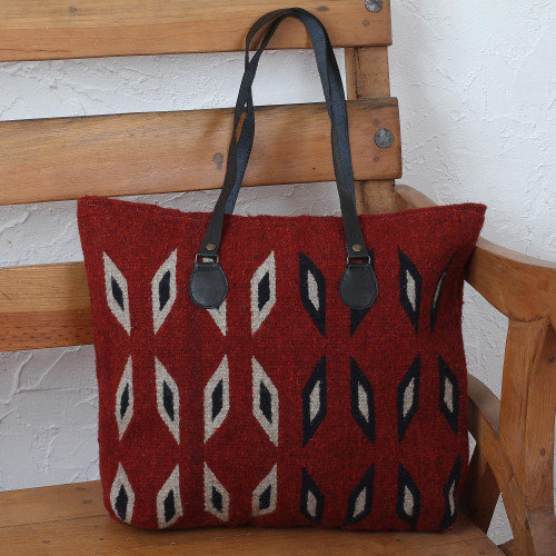 Crimson with Ivory and Blue Diamonds Handwoven Wool Tote 'Heartland'