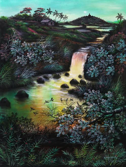 Signed Impressionist Landscape Painting from Java 'Lakeside Borobudur'