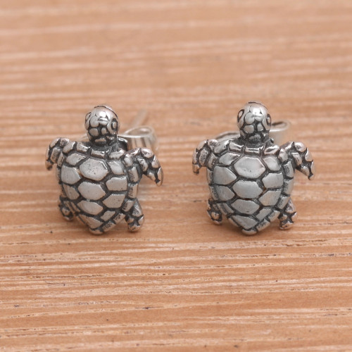 Artisan Made Sterling Silver Turtle Stud Earrings from Bali 'Sweet Shells'