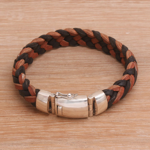Men's Black and Brown Leather Braided Wristband Bracelet 'Kintamani Fusion'