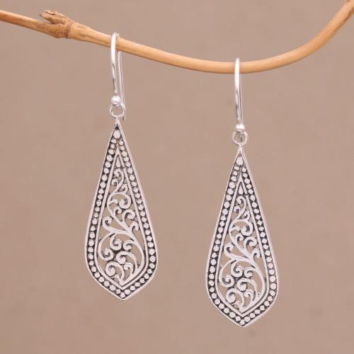 Handcrafted Balinese Sterling Silver Dangle Earrings 'Ornate Teardrop'