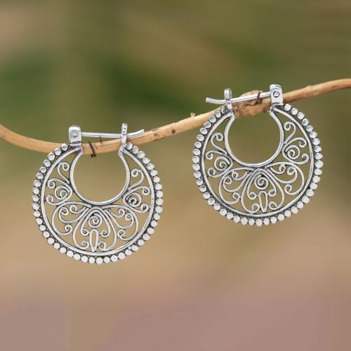 Sterling Silver Hoop Earrings Handcrafted in Bali 'Swirling Radiance'
