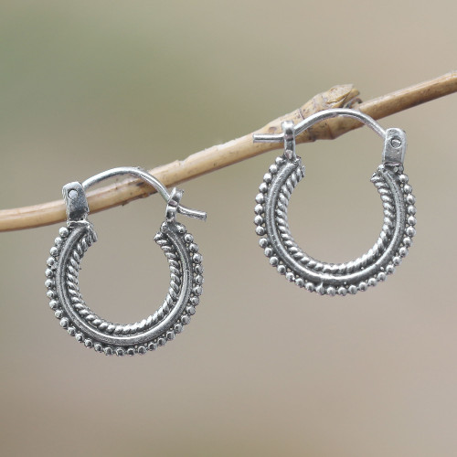 Sterling Silver Hoop Earrings Handcrafted in Bali 'Luminescent Halo'