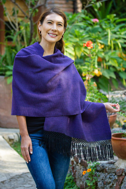 Zapotec Purple and Black Diamond Striped Cotton Rebozo 'Striped Diamonds in Purple'