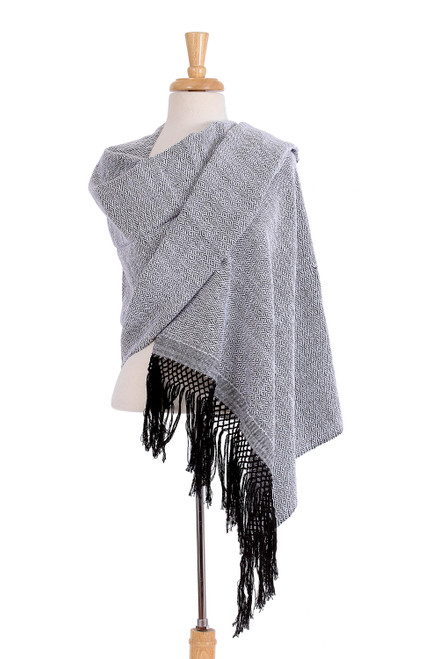 Handwoven White and Black Zapotec Cotton Rebozo Shawls 'Striped Diamonds in White'