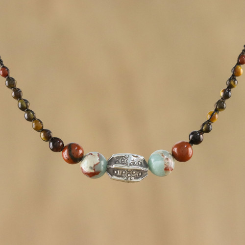 Multi-Gemstone and Karen Silver Beaded Macrame Necklace 'Earthbound'