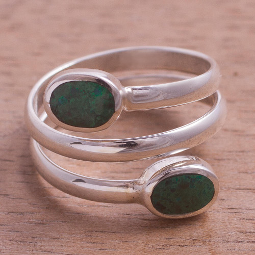 Handcrafted Green-Blue Chrysocolla Wrap Ring 'Double Embrace'