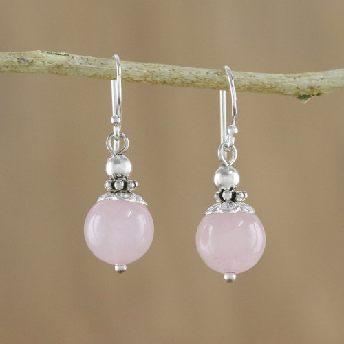 Handcrafted Rose Quartz and Sterling Silver Dangle Earrings 'Candy Cloud'